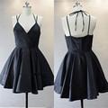 Cheap Black Backless Short Cocktail Dresses 2016 Sexy V-Neck Spaghetti Strap Homecoming Graduation Dresses Fashion Prom Gowns