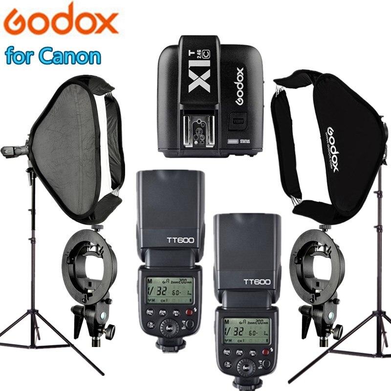 Kit Studio Photo photographie 2 pièces GODOX TT600 Flash 2 pièces Softbox 2 support de lumière Studio de photographie Softbox kit pour Canon