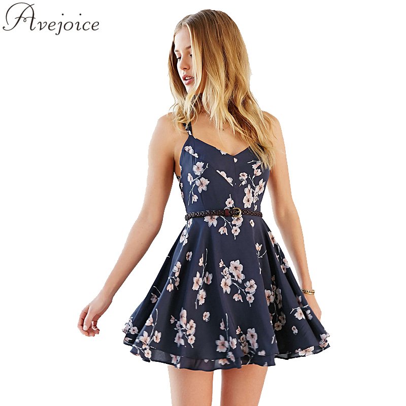 Printed Floral Dress Sexy Slim Casual Women Mini Spaghetti Steps Dress 2016 Summer  V-Neck Vintage Dresses AJ0011