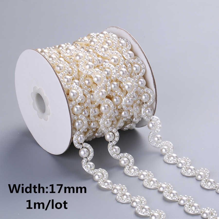 1meter/2meter ABS Imitation Pearl Beads Chain Banding Trims Sewing For DIY  Wedding Party Craft Headband 26 Designs Choose