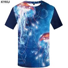 KYKU Jellyfish T Shirt Men 3d Psychedelic Tshirt Punk Rock Clothes Anime Print T-shirt Funny Shirts Blue Ocean Mens Clothing