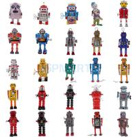 25ps Set Vintage Mechanical Walking Robot Spaceman Classic Wind Up Toys Metal Tin Toys Model Collectibles Home Decor Gifts