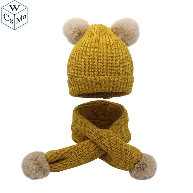 2018 модная теплая зимняя шапка и шарф; комплекты для девочек 2 шт. трикотажные хлопок унисекс шапка шарф набор для 1 мес-5 лет
