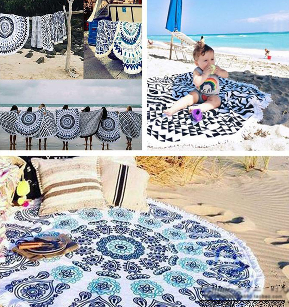 Many Patterns 2017 New Summer Large Microfiber Printed Round Beach Towels With Tassel Circle Beach Towel