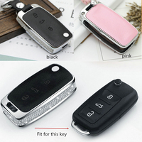 Luxury Diamond Car Key Shell Holder Remote Key Case Cover For Volkswagen VW Polo B5 B6