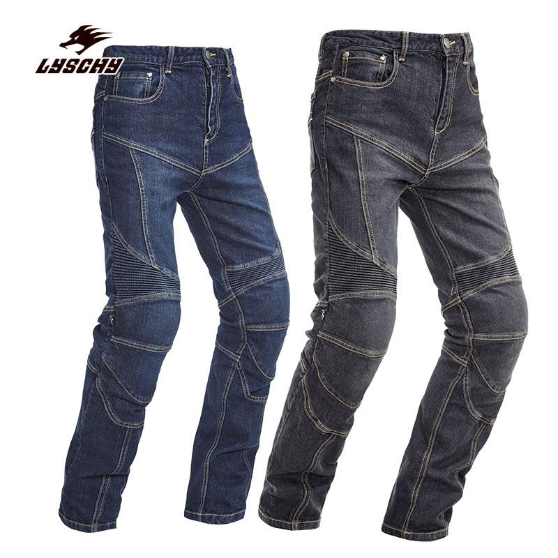 2018 New Automobile Men Women PK-718 Slim Denim Jeans Motorcycle Racing Motocross Moto Pants Jeans With 4 Protector Pad S-3XL