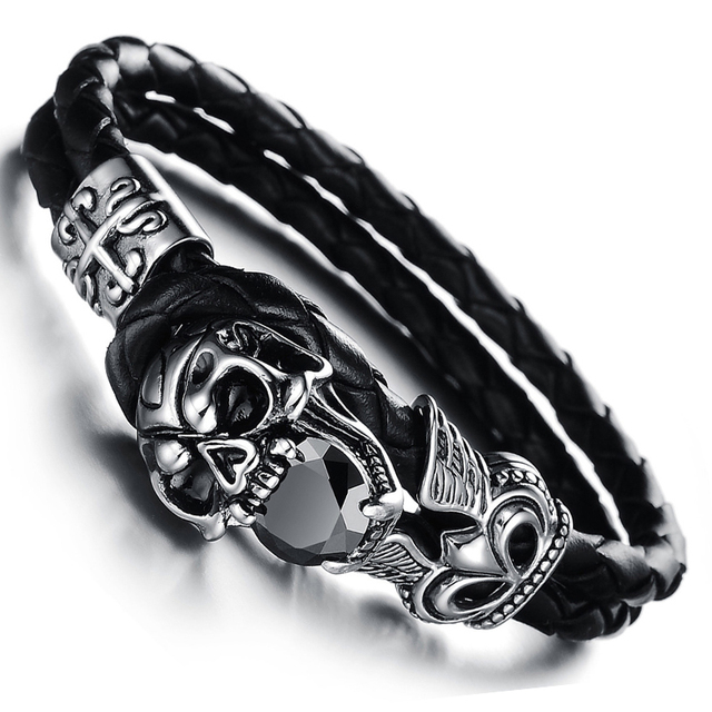 Vintage jewelry Stainless Steel Skull Bracelets Black Synthetic Leather