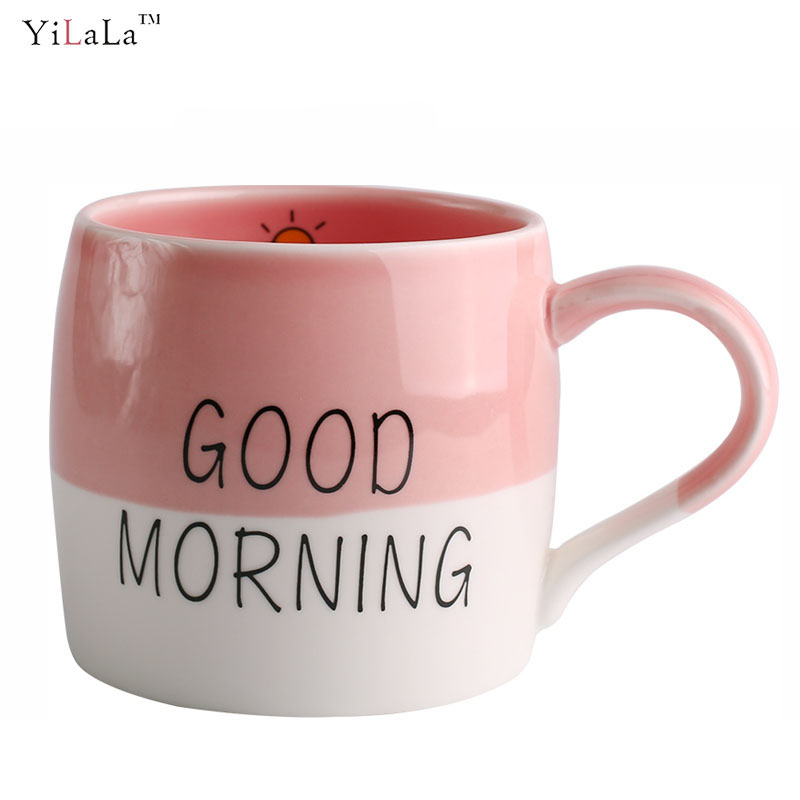 1PC Japanese styple good morning Weather ceramic water mug breakfast cup coffee cup tea cup