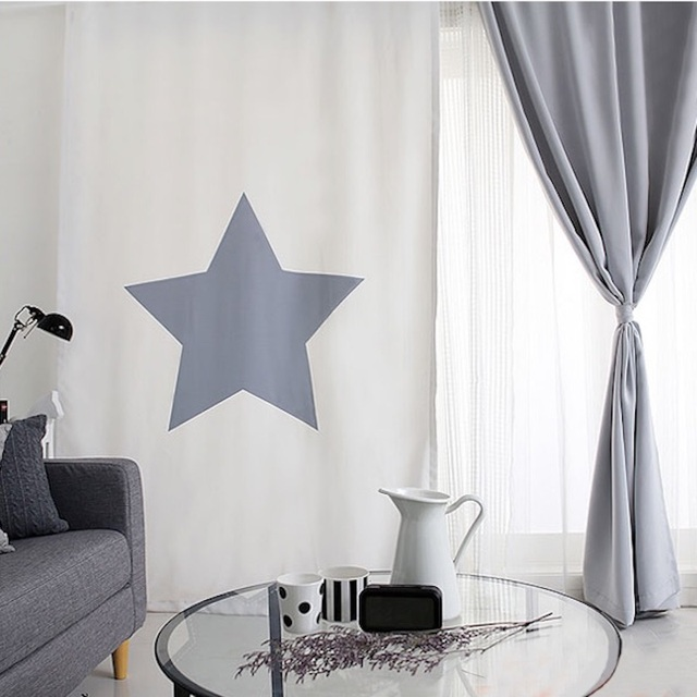 Draw Grommet Window Draperies Curtain Living Room Dressing Covering 145cm X 180cm 220cm 240cm 270cm Star White Gray