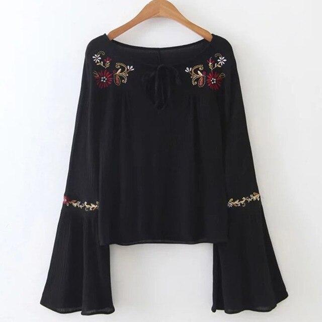 Вышивка блузка женщины flare рукавом v шеи сексуальная рубашка мода топы blusa camisa femenina