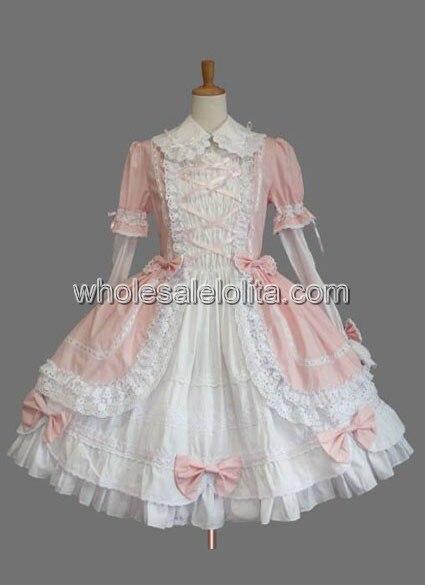 Custom Made Lolita Robes Rose Pleine Manches À Volants Coton Sweet Lolita Robe Dentelle Genou-Longueur 4xl 5xl 6xl Robe pour Vente