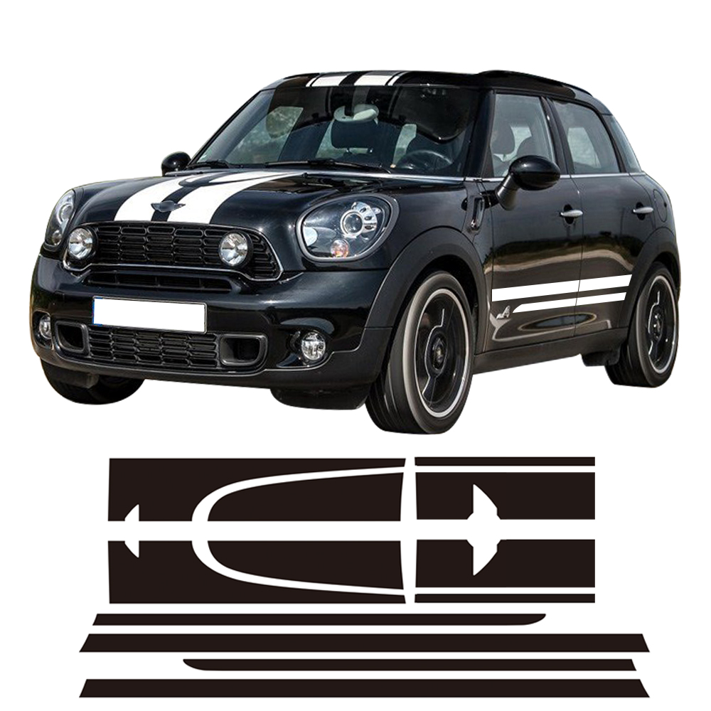 Decal Sticker Stripe Kit For MINI Cooper S Countryman John Cooper Works JCW Side Racing Skirt Stripes Hood Rear Decal Stickers carking grid pattern abs uv protected door handle cover for mini cooper countryman 4 pcs