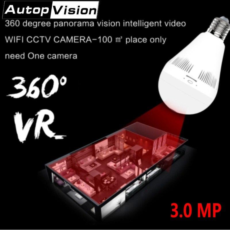 EC18D-M10 3MP 360 degrés Fisheye panoramique caméra IP sans fil ampoule lumière VR caméra sécurité à domicile WiFi IP caméra avec blanc + IR led