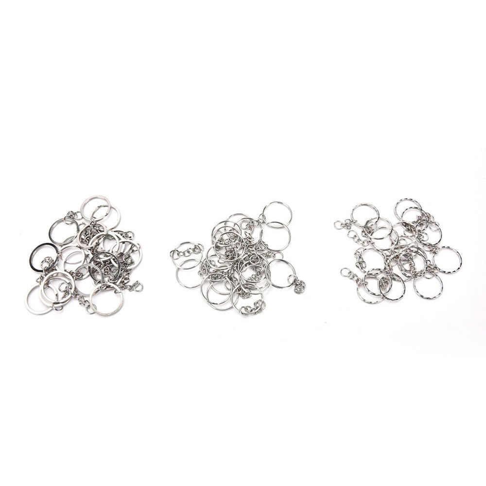 100 Pcs/set Perak Gantungan Kunci Stainless Alloy Lingkaran DIY 25 Mm Gantungan Kunci 3 Gaya Perhiasan Gantungan Kunci Gantungan Kunci