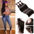 360 Lace Frontal With Bundles 7A Brazilian Virgin Hair Straight 3 Bundles With Closure Cheap 360 Lace Virgin Hair With Bundles