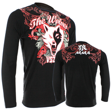 MMA Jerseys VSZAP THE WOLVES long sleeved T-shirt Muay Thai hammer fitness comprehensive grappling training male autumn