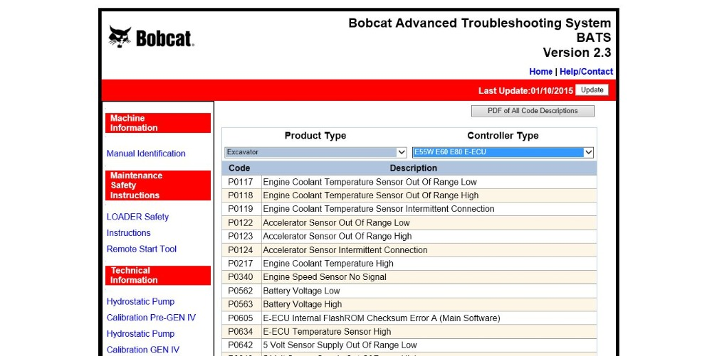 Bobcat advanced troubleshooting system (bats) 2016
