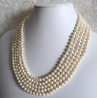 Fashion gift 6 7 mm White Freshwater Pearl Necklace Long 100
