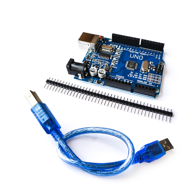 Un juego de alta calidad UNO R3 CH340G + Chip MEGA328P 16Mhz para Arduino UNO R3 Placa de Desarrollo + USB CABLE
