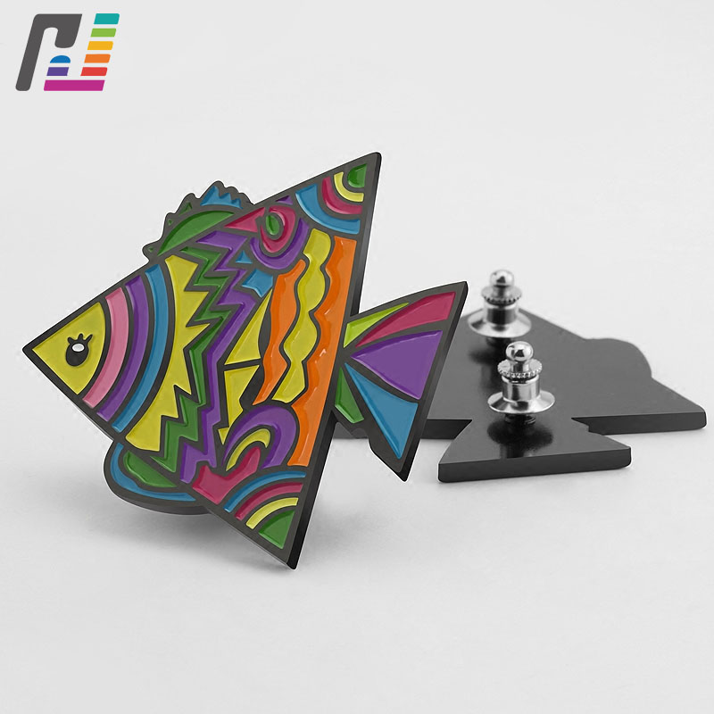 Cartoon Colorful Fish Brooch Pin Metal Soft Enamel Lapel Pin Badge Custom Buy at Least 50PCS