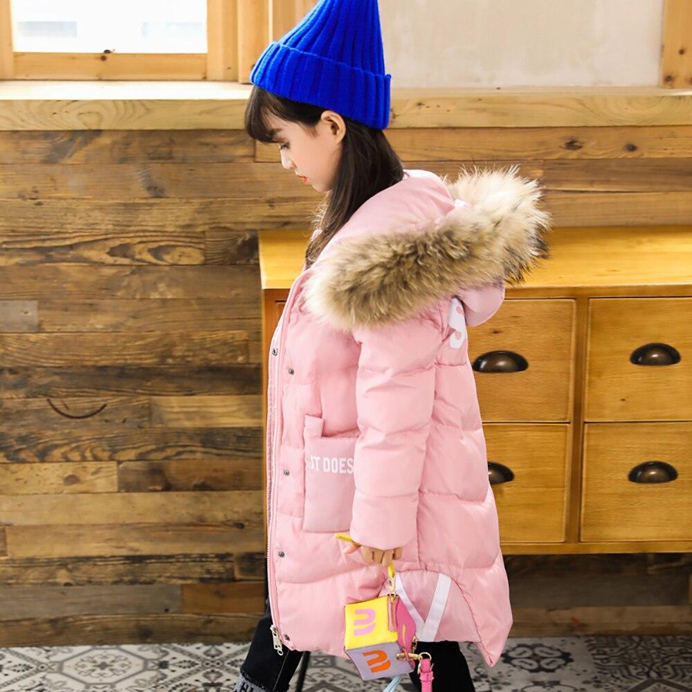 XYF8732 Boys Girls Winter Down Jackets Kids Pink Long Sleeve Winter Jacket Coat Warm Outerwear Long Coat 85% White Duck Down