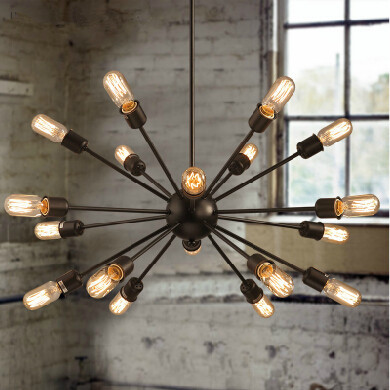 Vintage European Style Village Multi Satellite Chandelier Retro Industrial  Dining Room Light Fixture Lamp 18