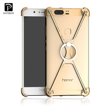 For Huawei Honor 8/ Honor V8 Case Cover Original Oatsbasf Metal Frame Border Phone Case for Huawei Honor V8 Cover + Ring Holder(China)