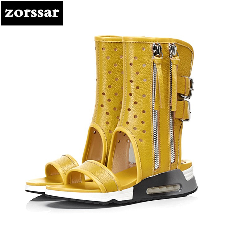 {Zorssar} 2018 Genuine Leather flat Ladies Shoes Summer Sandals Women Open Toe Gladiator Sandals Casual Female Rome Shoes summer mother shoes woman genuine leather soft outsole open toe sandals casual flat women shoes 2018 new fashion women sandals