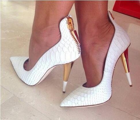 2018 Summer Fashion Ladies Party Dress Sandals Classical White Crocodile Leather High Heels Women Pumps Closed Toe Wedding Shoes женское платье summer dress 2015cute o women dress