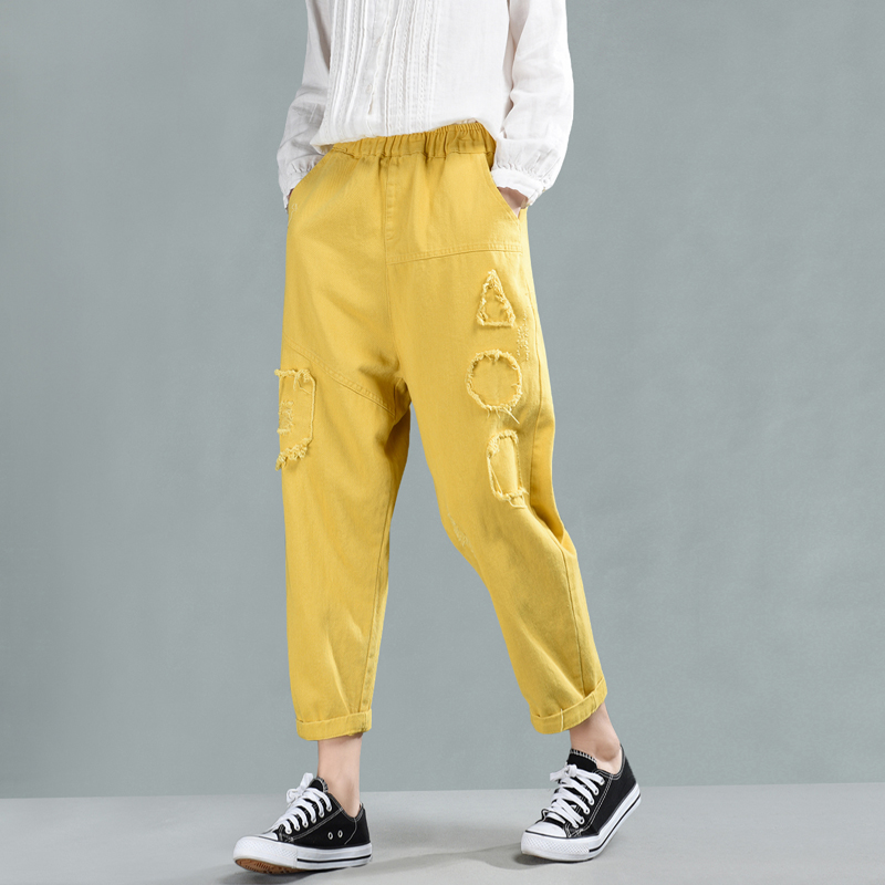 Ladies Black red New Casual Blended Trousers white Pocket Elastic Pants Waist Spring Loose Female Retro Autumn Vintage Patchwork yellow Women wfaRnpq