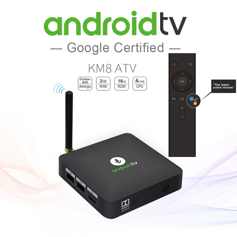 2018 MECOOL KM8 Android TV Box Voice Remote Control Amlogic S905X Android 8.0 2GB+16GB VP9 HDR10 Dolby Audio Support Youtube 4K