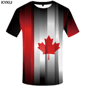 KYKU Brand Maple Leaf T-shirt Men Graffiti T-shirts 3d Canada Anime Clothes Art Tshirt Printed Abstract Shirt Print(China)