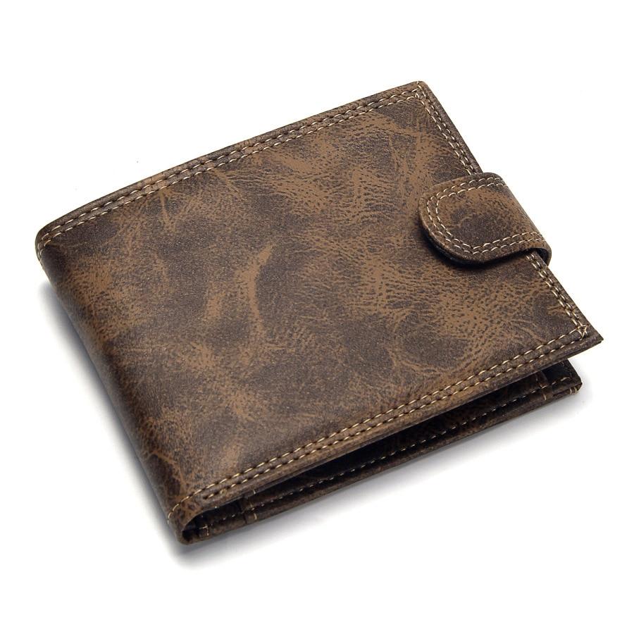 Роскошный дизайнерский мужской кошелек из кожи пу, Двойные Короткие Кошельки, мужские винтажные кошельки с застежкой, кошелек для монет, многофункциональный кошелек для карт - Цвет: Хаки