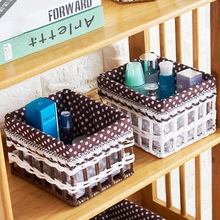 Decorative straw baskets storage countryside hand made woven book snack makeup tool boxes household eco-friendly basket