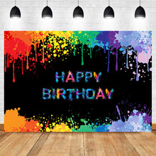 NeoBack Graffiti Happy Birthday Party Photography Backdrops Color Spray Paint Custom Photo Background Photophone