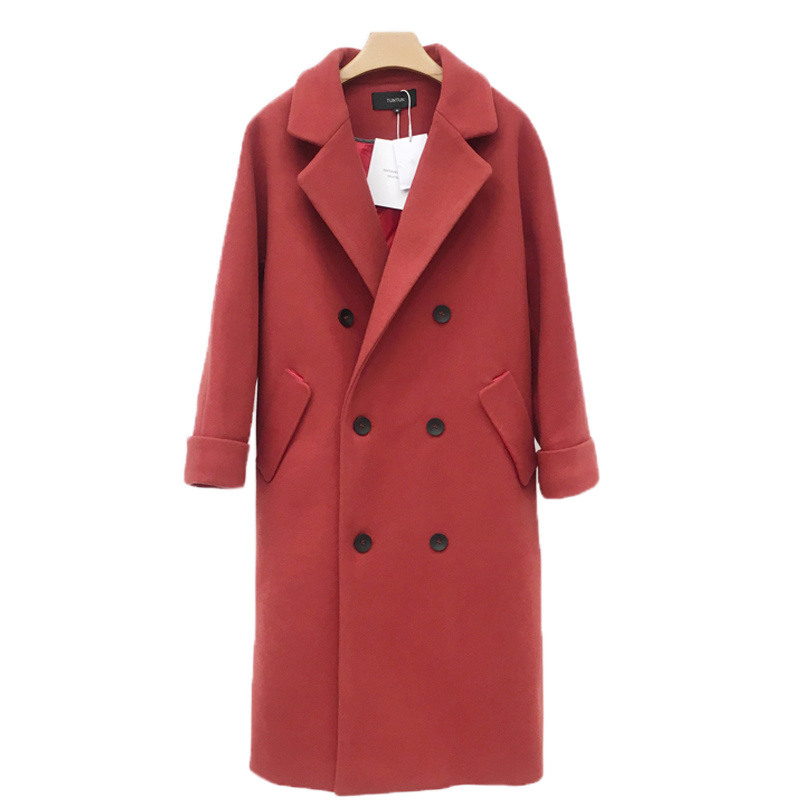 Fashion Double-Breasted Long Wool Coat Women Manteau Femme Black Autumn Winter Coat Women Elegant Woolen Parka Overcoat C5010