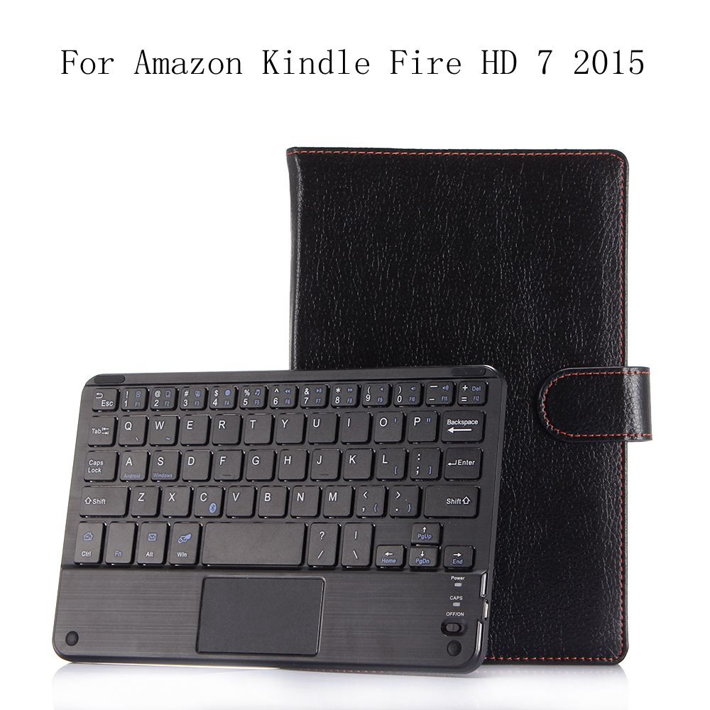 Tablet Accessories Pu Leather Keyboard Case For Amazon Kindle Fire Hd 7 2015 Silicone Soft Back Inside Smart Cover Multi-angle Stand+gifts
