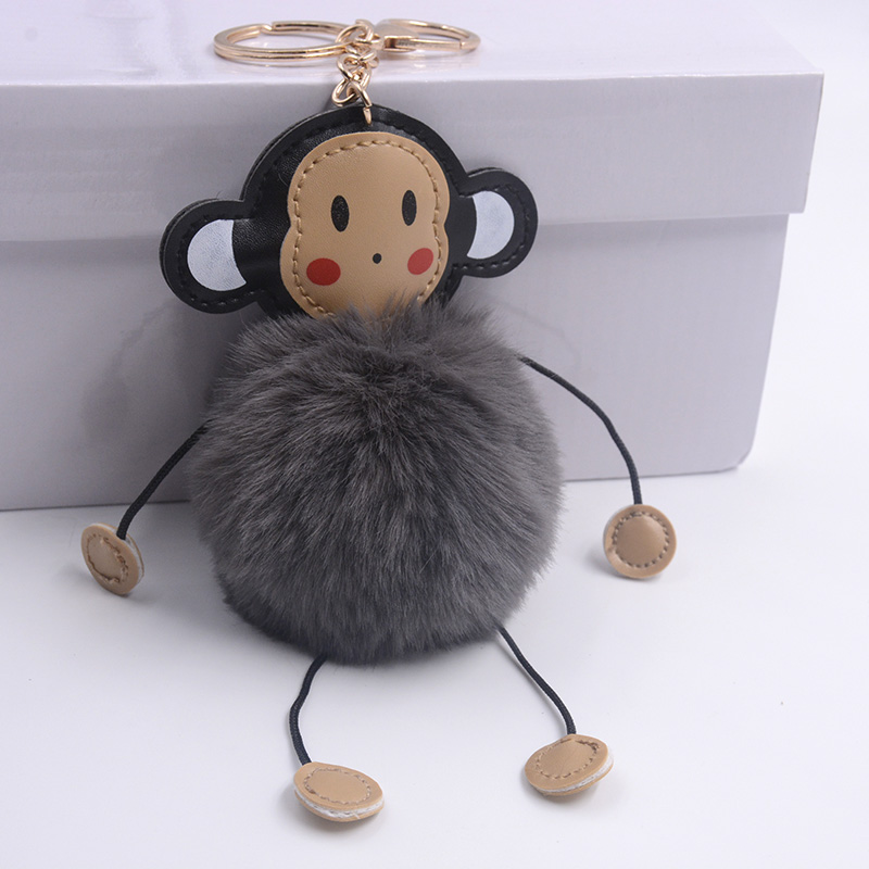 Opshineqo 2017 Cute Monkey Fake Rabbit Fur Ball Fluffy Key Chain Women Bag  Pompom Keychain Wholesale Jewelry-in Key Chains from Jewelry   Accessories  on ... 613b20333c