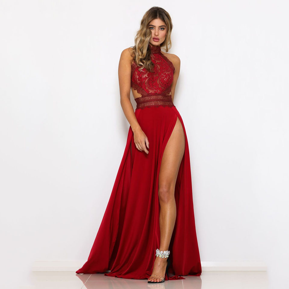 woman in long red dress with lace opening n front leg