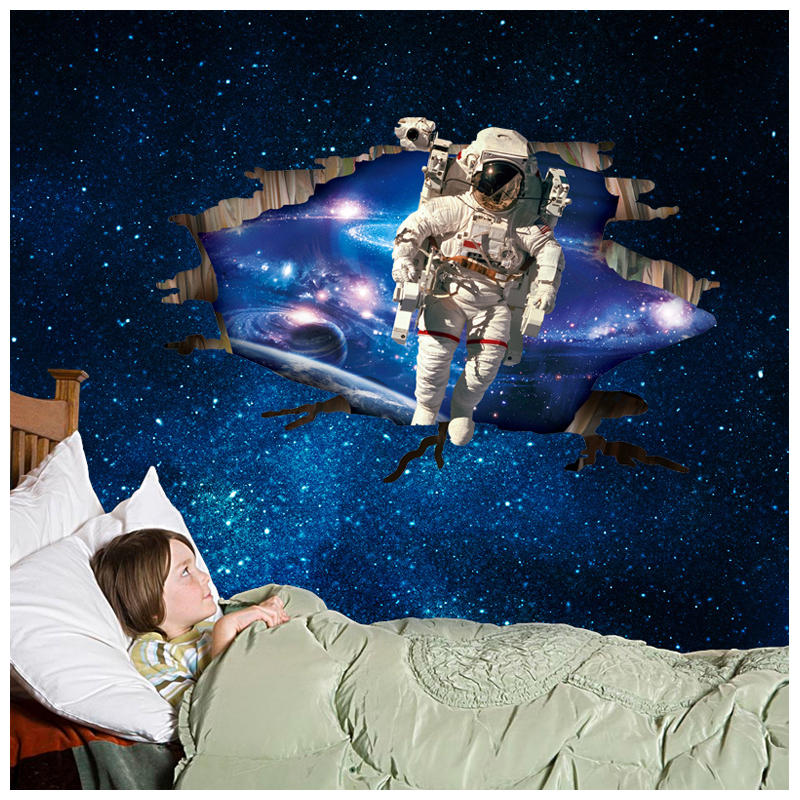 AY9264 60*90cm 3D Outer Space Astronauts Wall Stickers Cartoon Spaceman Bedroom Sticker Decals Home Kid's Room Decor Wallpaper
