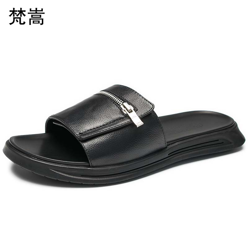 outdoor youth Korean version sandals casual personality summer all match cowhide fender summer men genuine leather slippers in Slippers from Shoes