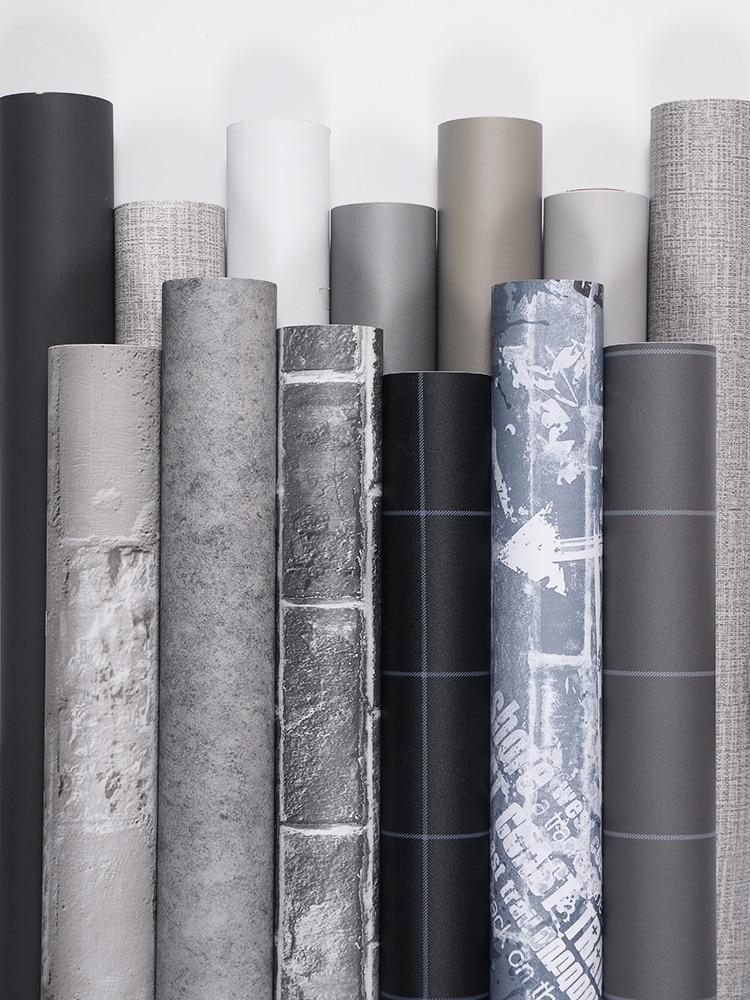 Yeni çimento gri keten desen su geçirmez duvar kağıdı kendinden yapışkanlı düz renk yurdu yatak odası duvar çıkartmaları dolapları mobilya