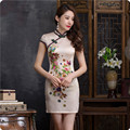 2016 Summer Cheongsam Vintage Chinese Traditional Dress Women Fashion Satin Slim Short Qipao Abendkleider Evening Cheongsam