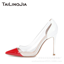 Brand High Heel Colorful Women Pumps Woman Shoes Pointed Toe Clear Transparent Shoes Pvc Wedding Party Evening Dress Shoes 2019 high heel peep toe shoes woman sandal formal dress shoes lady wedding bridal shoes party evening banquet pumps formal shoes