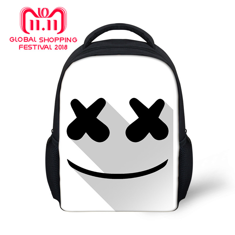 656dd052f Cute Cartoon Marshmello Small Backpack for Teen Girls Boys Shoulder Bag  Creative Travel Mask DJ Women School Bags rugzak Bags