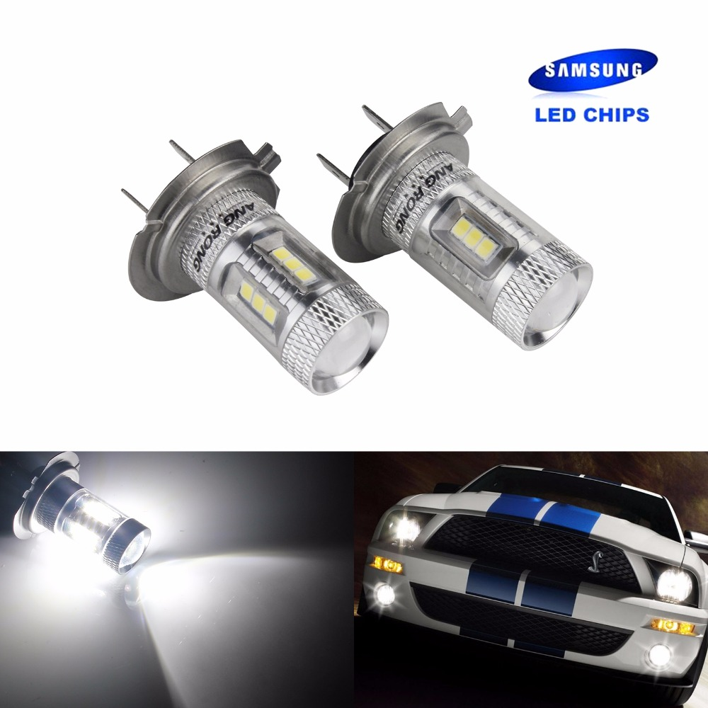 ANGRONG 1 Pair H7 499 LED Genuine SAMSUNG Chips Headlight Fog Light Lamps Bulb DRL White