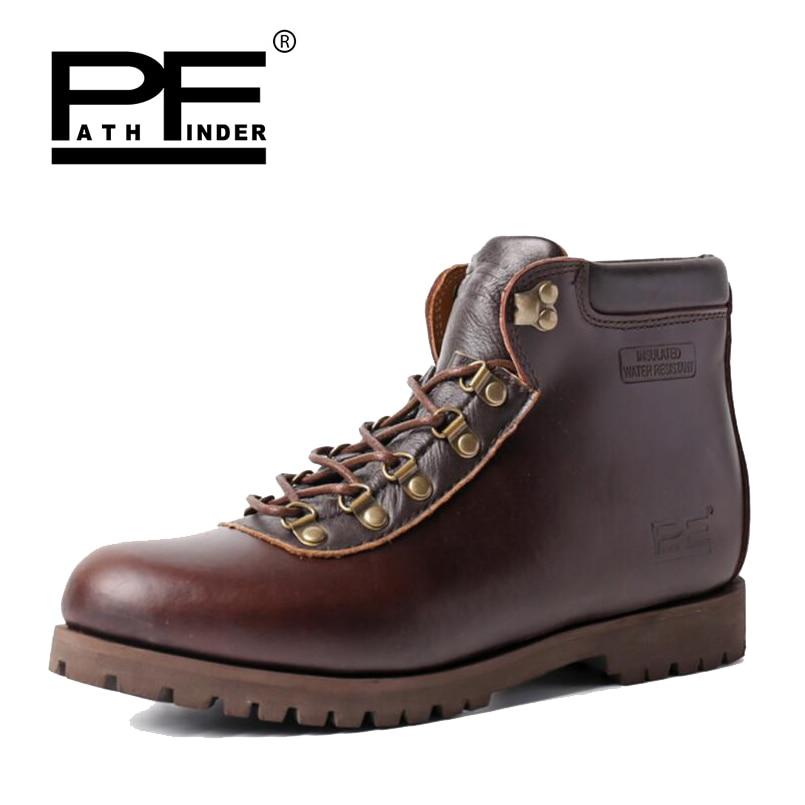 Pathfound hommes en cuir véritable nouveau imperméable à l'eau outillage militaire bottes en plein air chaussures décontractées rétro hommes bois Super chaud bottes