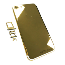 For iPhone 7 24K 24KT 24CT Mirror GOLD ROSE GOLD PLATINUM SILVER Metal Back Cover Housing