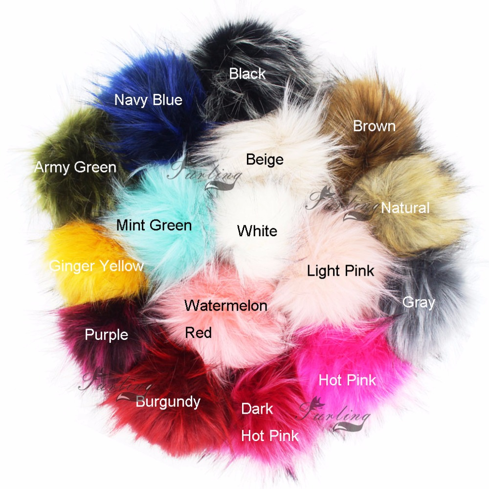 Furling 1 PC 13cm Fashion Large Faux Raccoon Fur Pom Poms Ball with Press Button for Knitting Hat DIY Beanies With PRess Stud xthree real mink fur pom poms knitted hat ball beanies winter hat for women girl s hat skullies brand new thick female cap