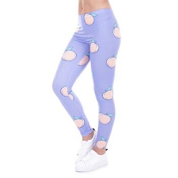 New Fashion Women Leggings Peach Leggins Printed Purple Legging For Woman Pants Casual Legins Stretchy Trousers